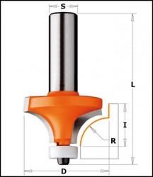 Freza cu coada cu profil concav si rulment superior Z2